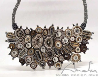 Statement necklace brown,  bib necklace large from Cloud Design Collection - Handmade textile jewelry OOAK for order