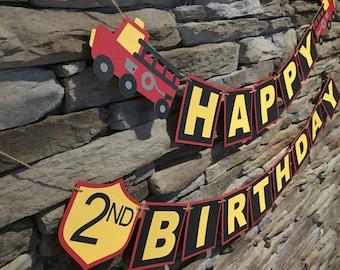 Fire truck theme birthday banner, fire truck theme birthday, fire truck banner
