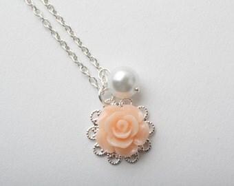 Peach flowergirl necklace, flowergirl jewelry, peach girl necklace, Peach wedding jewelry, Peach rose necklace, flowergirl gift