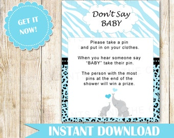 Dont Say Baby Game - Elephant Baby Boy Shower Game Party Activity Sign Blue Grey Turqoise Little Peanut Spinkle INSTANT DOWNLOAD