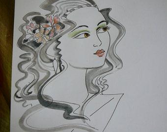 original watercolor art line drawing stone tones, beautiful face, portrait, woman, fashion, earth tones design