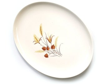 """1960s Autumn Harvest Ever Yours 13"""" Oval Large Serving Platter Tray. Taylor Smith and Taylor. Fall Platter. Autumn Leaves. Harvest Wheat TST"""