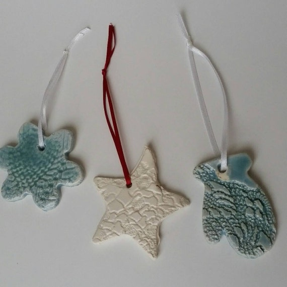Pottery Ornament set of three with white and red ribbon hangers in porcelain for trees or gifts
