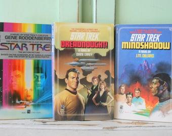Vintage STAR TREK Book Set of 3...instant collection. sci fi. fantasy. U.S.S starship. captain kirk. half human. half vulcan. spock. alien