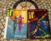 2 Vintage Sci Fi Magazines from 1952 If - Great Graphics ! Martians Rockets & Robots