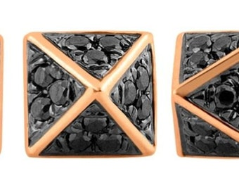 Black diamond and rose gold pyramid stud earrings