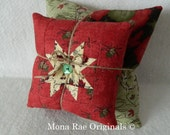 "Star Stacking Pillows ~ Two Pillows 6"" and 12"" ~ Hand Quilted OOAK ~ Sofa, Chair, Cabin Pillows, Country Home Pillows ~ Rust, Green Pillows"