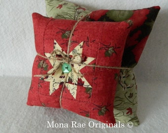 "Star Stacking Pillows ~ Two Pillows 8"" & 12"" ~ Hand Quilted OOAK ~ Sofa, Chair, Cabin Pillows, Country Home Pillows ~ Rust, Green Pillows"