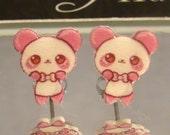 Pink Panda Bear Stud Earrings - Valentine's Day