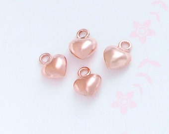 4 of 925 Sterling Silver Rose Gold  Vermeil Style Heart Charms 5 mm. :pg0101