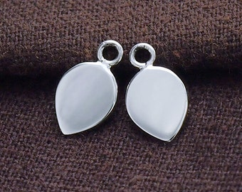 4 of 925 Sterling Silver Leaf  Disc Tag Charms 7x10mm. :tk0055