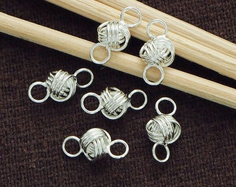 6 of 925 Sterling Silver Wire Knot Links, Connectors 5x8 mm. Polish Finished.  :tk0060