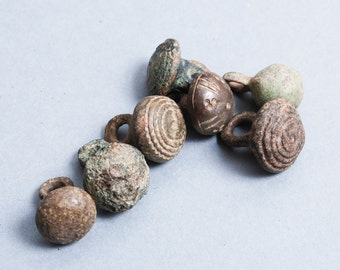 Set of 7 Antique miniature metal charms, buttons, dark patina (n74)