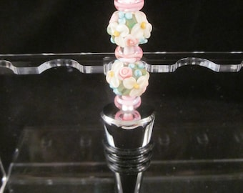 Pink Floral Beaded Bottle Stopper, Wine Stopper, Artisan Lampwork Glass, Hand Crafted, Unique, Beadable, Decorative, OOAK, SRAJD