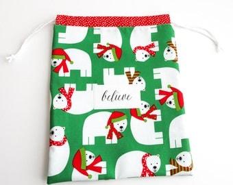 Reusable Christmas Gift Bag - Party Favor - Treat Bag - fabric and reusable - eco friendly