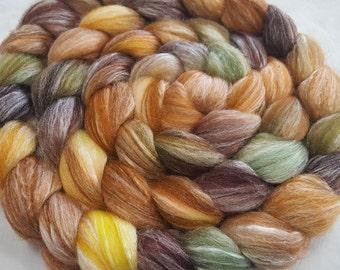 Merino/Bamboo Roving - 60/40 - 4 oz - Pumpkin, Gold, Sage and Brown