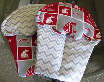 Handmade Cupcake Potholder with maroon and grey themed oven mitts