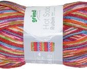 Rubin Viscose German self striping sock yarn Hot Socks  Grundl,75/25 superwash wool/polyamid 05 multi
