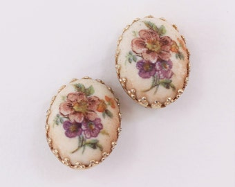 Vintage Signed Germany Pink Purple Flower Goldtone Off White White Oval Cabochon Victorian Revival Romantic Cameo Style Clip On Earrings