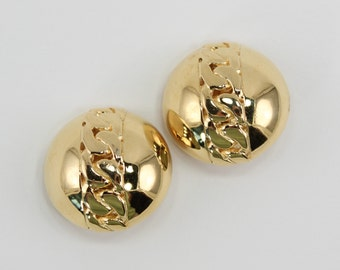 Vintage Gold Tone Curb Chain Polished Glossy Shiny Woven Weave Round Domed Button Nautical Goldtone Clip On Earrings