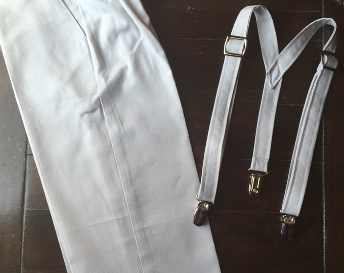 Boys Cotton Ring Bearer Outfit; 2 Piece Set: Ring Bearer Suspenders, and Pants. Wedding Outfit for Ringbearer