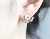 Flower and CZ Front Back Earrings-gold, silver/ Front Back Earrings, ear jackets