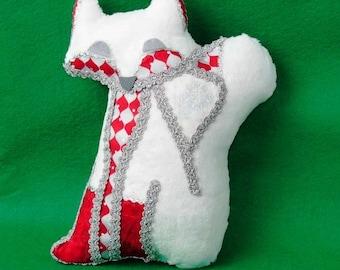 """Fox Softie """"Foxtile"""" Decorative Pillow Peppermint Snowflakes Fox Plush"""