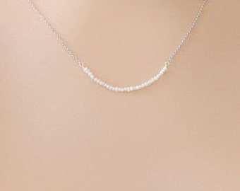 Tiny Freshwater Pearl Silver or Gold Necklace
