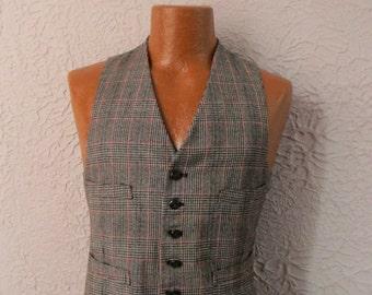 Vintage Men's Houndstooth Plaid Vest Waistcoat