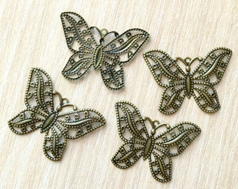 10pcs Brass Filigree Butterfly Charm