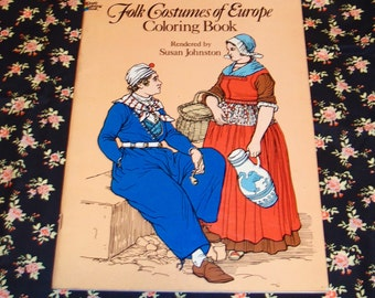 Adult Coloring Book / Folk Costumes of Europe, by Susan Johnston / Vintage Costumes / Folk Costumes / Ethnic Dress / Fashion History