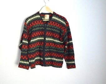 Vintage 50s 60s Red Green Penney's WOOL Cardigan Sweater // mens small // womens medium