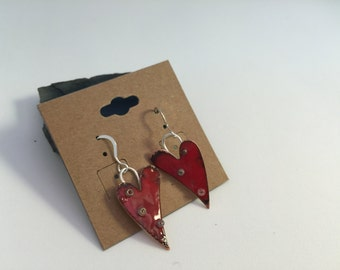 Heart shape earrings, red heart earring with Sterling silver ear wire, red enamel and tiny seed beads