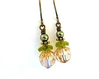 Green gold bead earrings, crystal and glass, gold and dark brass, mixed metal, layered bead earrings, Austrian crystal bead jewelry