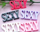 10 pcs of Resin Sexy Word Cabochons Flat back 39x19mm Mix 5colors