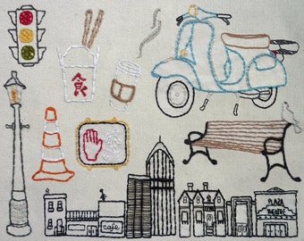 The City Set Hand Embroidery Pattern. Classic Series.