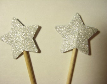 24 Silver Glitter Star Party Picks - Cupcake Toppers - Toothpicks - Food Picks - FP586