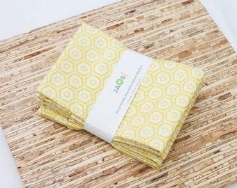 Large Cloth Napkins - Set of 4 - (N3812) - Yellow Honeycomb Geometric Modern Reusable Fabric Napkins