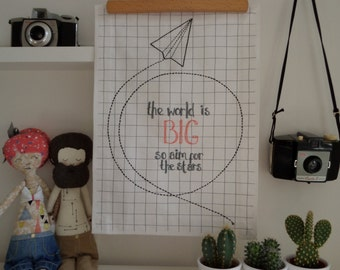 The World Is Big  A3 Stitched Wall Art