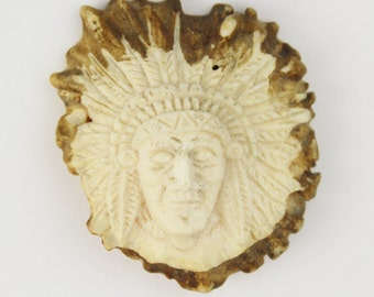 Carved Antler Crown Button - Chief Head