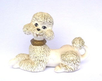 Large Vintage White FRENCH POODLE FIGURINE