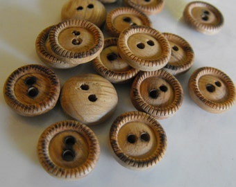 20 Wood Burned Dash Round Buttons Size 1/2""