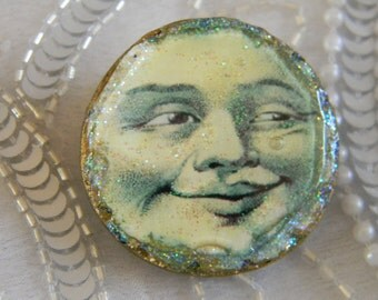 Lucky Moon Polymer Clay Decoupage Brooch