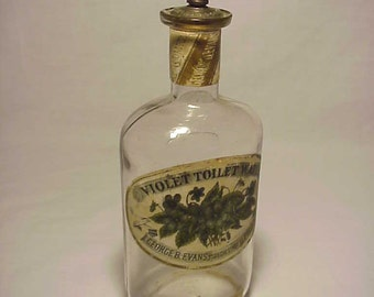 c1890s George B. Evans Philadelphia, PA., Violet Toilet Water Perfume Cologne Bottle with Paper Labels