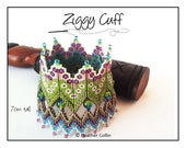 Beading Pattern, Tutorial,  Instructions, Zig Zag Rick Rack Diagonal Peyote stitch, double layer wide cuff Instant Download ZIGGY CUFF