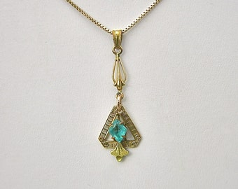 Edwardian Gold Topped Pendant/Lavaliere with Blue Stone (No. 1248)