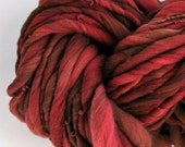 "Yarn Bulky Maroon Handspun Reddish Maroon Red ""With Depth"" Thick n Thin Hand Dyed Merino Knitting Supplies Crochet Soft Wool Yospun"