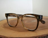 Vintage Deadstock Retro Foremost Optical Square Glasses Brown Ombre Boxy Oversized