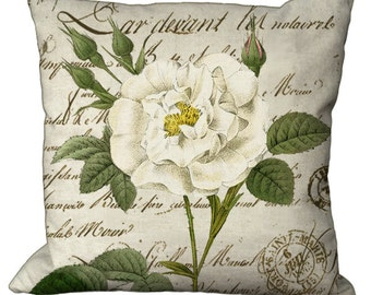Redoute White Rose on French Script Choice of 14x14 16x16 18x18 20x20 22x22 24x24 26x26 inch Pillow Cover