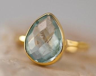 SALE - Aquamarine ring Gold - March Birthstone Ring - Solitaire Stone Ring - Stacking Ring - Gold Ring - Tear Drop Ring